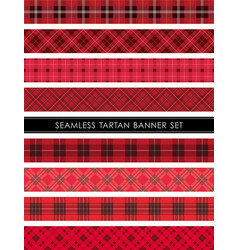 Seamless tartan plaid banner set vector