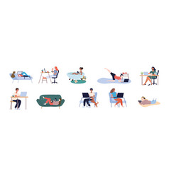 Set people working from home vector