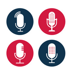 Set radio icon studio table microphone vector
