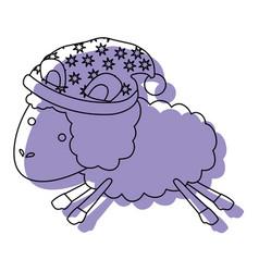 Sheep animal with sleeping cap jumping purple vector