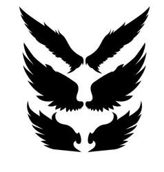 Silhouette wings bird black white vector