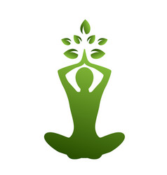 silhouette yoga and nature vector image