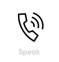 Speak phone editable line vector