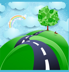spring background with road and tree vector image