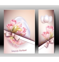 Spring flowers invitation template card vector image