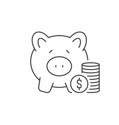stack coins and piggy bank linear icon on white vector image