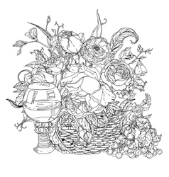 still life coloring book antistress style picture vector image