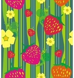 Strawberry and flowers vector image