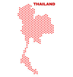 Thailand map - mosaic of lovely hearts vector