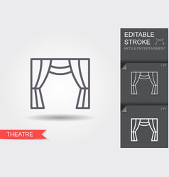 Theater curtain line icon with editable stroke vector