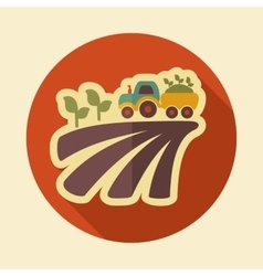 Tractor on field harvest seedling retro flat icon vector image