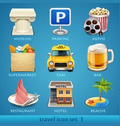 travel icon set-1 vector image