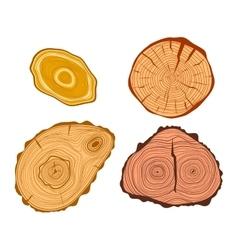 Tree wood slices set vector