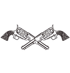 two crossed pistols isolate on a white background vector image