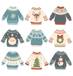 ugly christmas sweaters cartoon cute wool jumper vector image