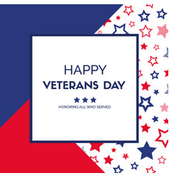 Veterans day greeting card vector
