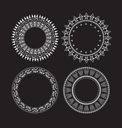 vintage circle labels set round frames vector image
