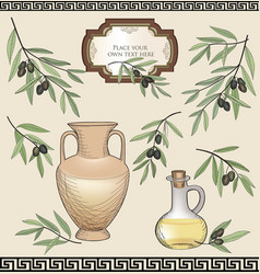 Vintage olive labels set organic food colored vector
