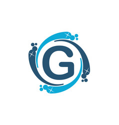 Water clean service abbreviation letter g vector