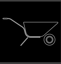 Wheelbarrow cart white color path icon vector