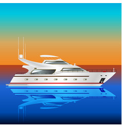 white motor yacht in the blue sea vector image