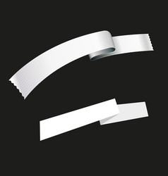 White ribbon and tape isolated vector