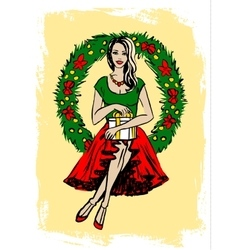 Woman with Christmas wreath vector