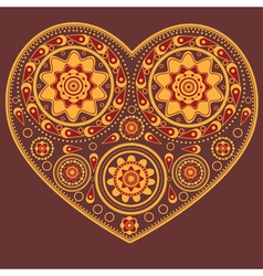 Yellow ornamental heart vector image