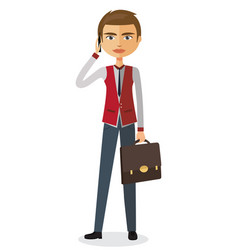 young business man talking the phone vector image
