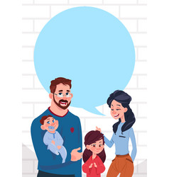 Young family parents with two kids chat bubble vector