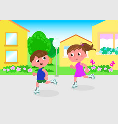 young skaters in town vector image