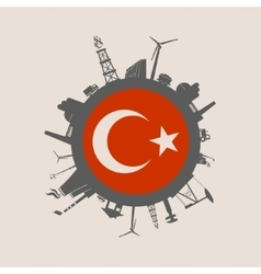 Circle with industrial silhouettes Turkey flag vector image