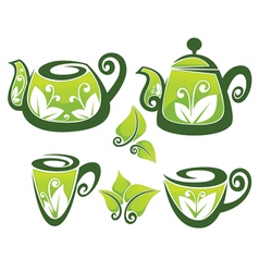 decorated teapot and cup in organic style vector image vector image