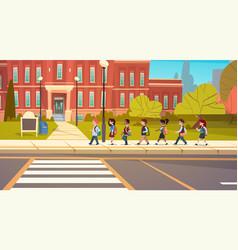 group of pupils mix race walking to school vector image vector image