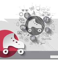 Hand drawn roller skates icons with icons vector image vector image