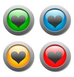 Heart icons buttons vector image vector image