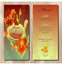Iris flower wedding menu card Printable vector image