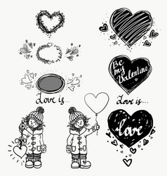 love cute small girl and heart winter hand vector image