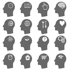 Thinking Heads Icons vector image