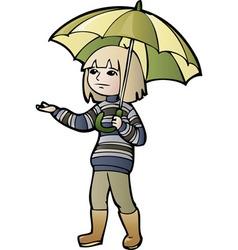 boy with umbrella vector image