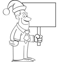 Cartoon Man Wearing a Santa Hat and Holding a Sign vector image vector image