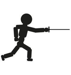 fencing man sign black icon vector image
