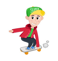 little boy riding on skateboard vector image vector image