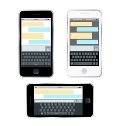 Mobile messenger chat hands with smartphone vector image vector image