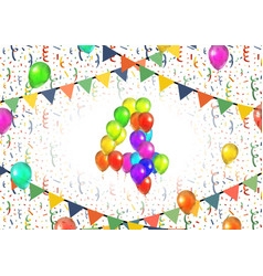 number four made up from colorful balloons on vector image