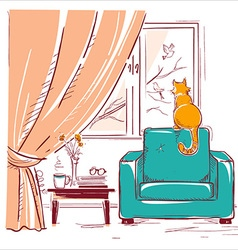 Red cat watching birds near the windowInterior vector image vector image