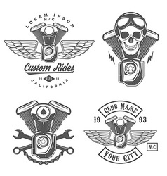 Set of vintage motorcycle engine design elements vector image vector image