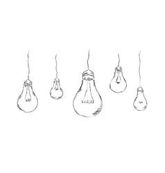 Stylish painted light bulbs vector