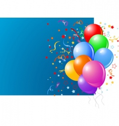 blue card with colorful balloons vector image vector image
