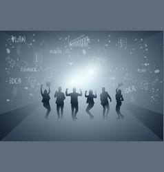 Business people group cheerful silhouette raised vector
